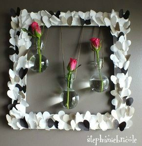 tuto d co id e d co r cup soliflore dans un cadre diy wall decor bis id es cr atives. Black Bedroom Furniture Sets. Home Design Ideas