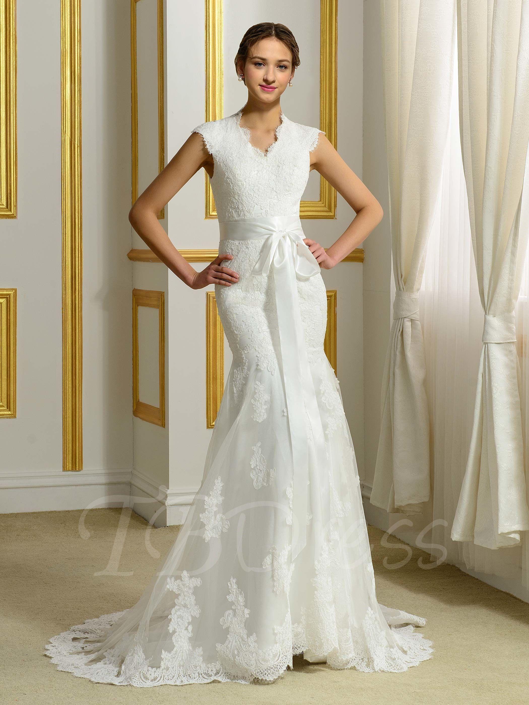 Vneck lace ribbon court trumpetmermaid wedding dress mtbdress
