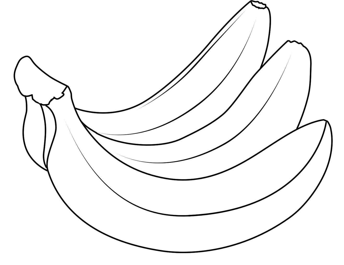 Pictures Three Bananas Fruit Coloring Pages