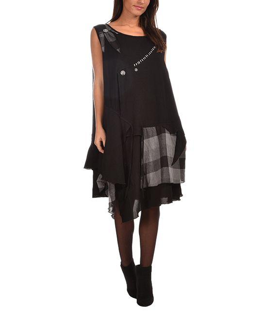 Black Plaid Handkerchief Dress - Plus