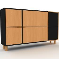 Sideboard Schwarz – Designer-Sideboard: Türen in Buche – Hochwertige Materialien – 154 x 91 x 35 cm,