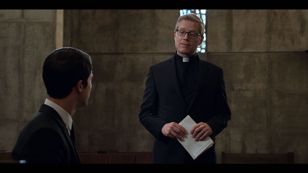 Dylan Minnette As Clay Jensen Anthony Rapp As Priest In Season 2