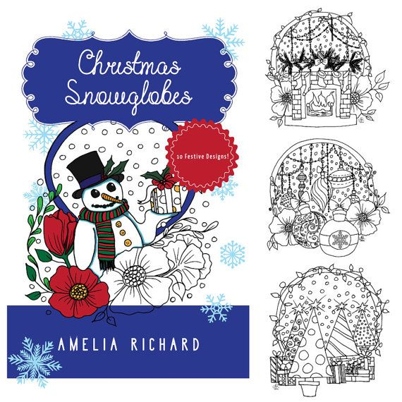 Adult Coloring Book  Christmas Snowglobes by AmeliasArtCorner