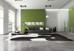 Pvc vloer grijze tegels met groene muur groen