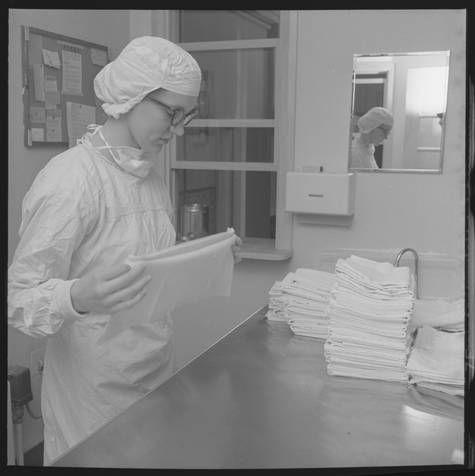 Nurse Folding Linens At St Luke S Hospital Nursery Fargo N D 1957 Cal Olson Photography Ndsu