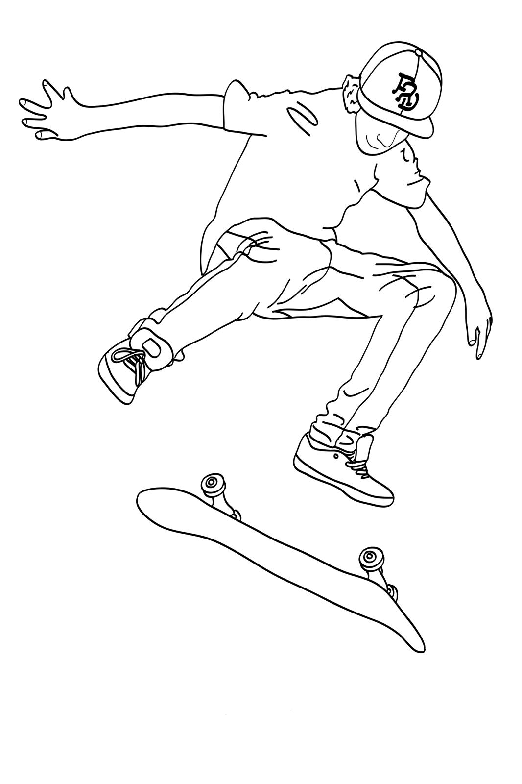 Skateboard Play Using The Cap Skateboard Ausmalbilder