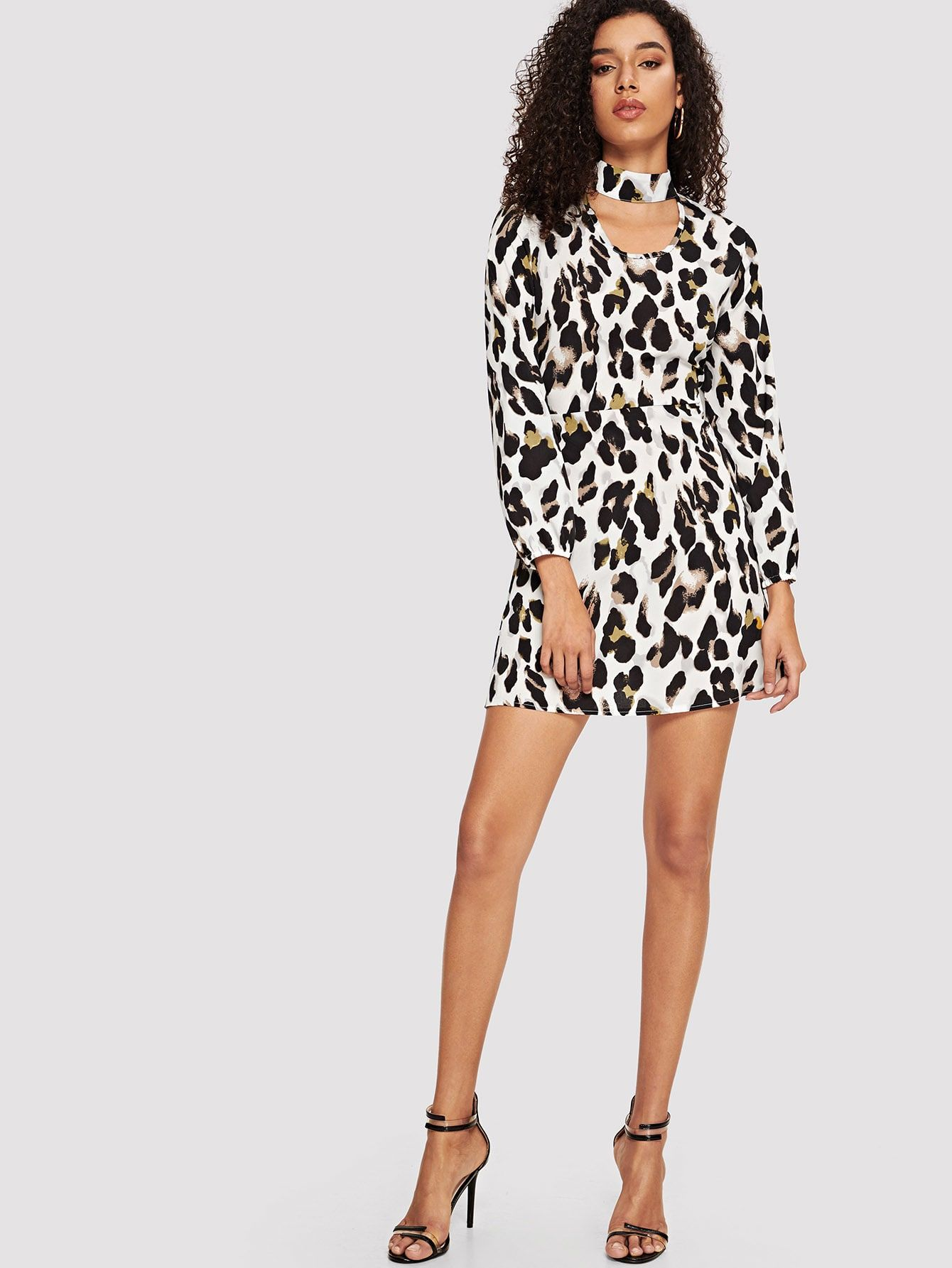8593c62b1d Party Shirt Cut Out Leopard Shift V Neck Long Sleeve High Waist White Short  Length Leopard Print Choker Neck Dress