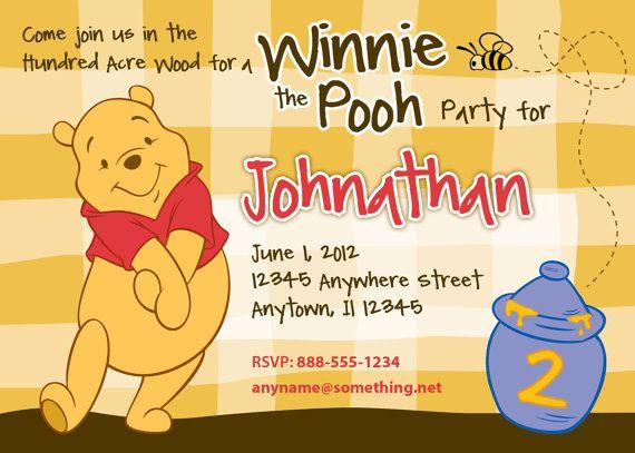 WINNIE the POOH Birthday Invitation DIY Printable Invitation By