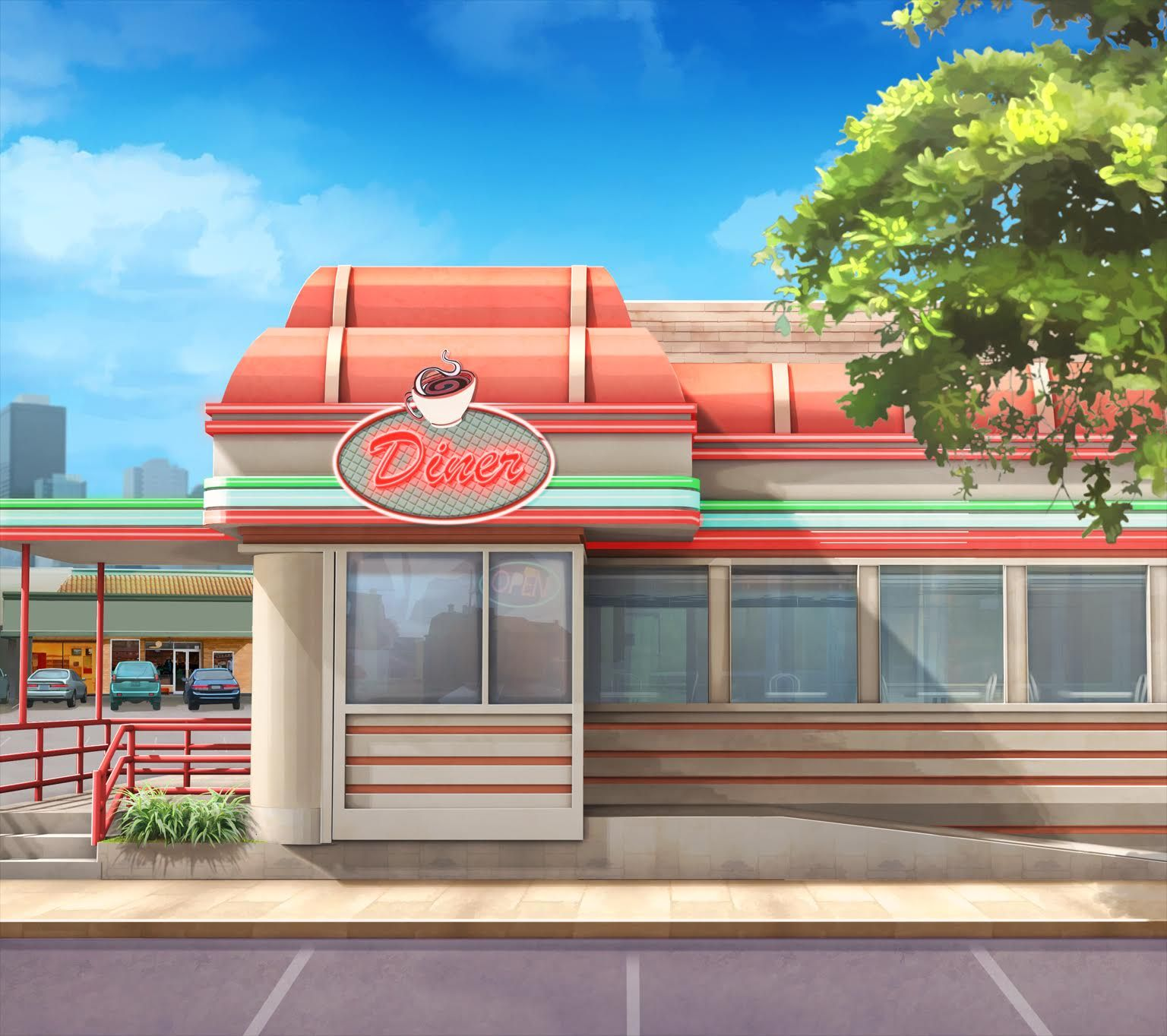 EXT. MG DINER DAY Episode interactive backgrounds