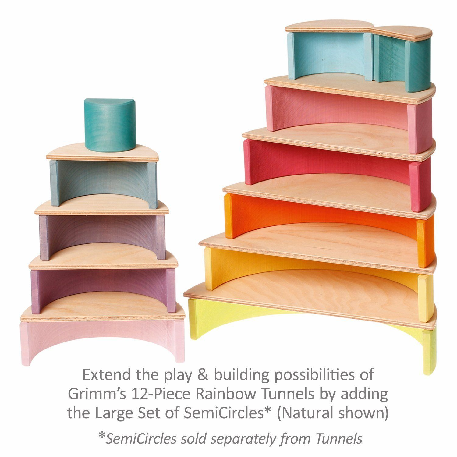 Awesome Amazon.com: Extra Large 12 Piece Rainbow Tunnel Stacker Toy In Pastel Colors