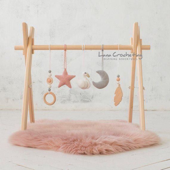 Photo of Swan Baby play gym/ baby gym toys.  Blush & Gray. Wooden baby gym frame, crochet rattles. wooden mobiles.  Baby shower gift. Girl nursery