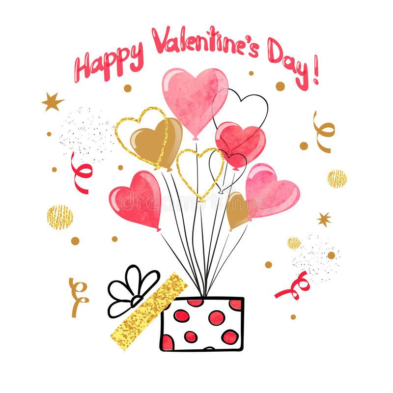 Download Valentines Day Card Design With Watercolor Heart Balloons Stock Vect Happy Valentines Day Pictures Happy Valentines Day Valentines Day Card Templates