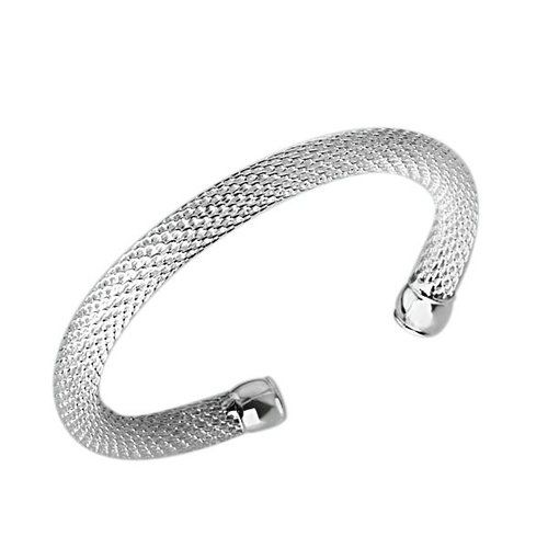 Silver Plated Mesh Bangle Cuff Bracelet Women's Men's Fashion Jewelry - $29.00