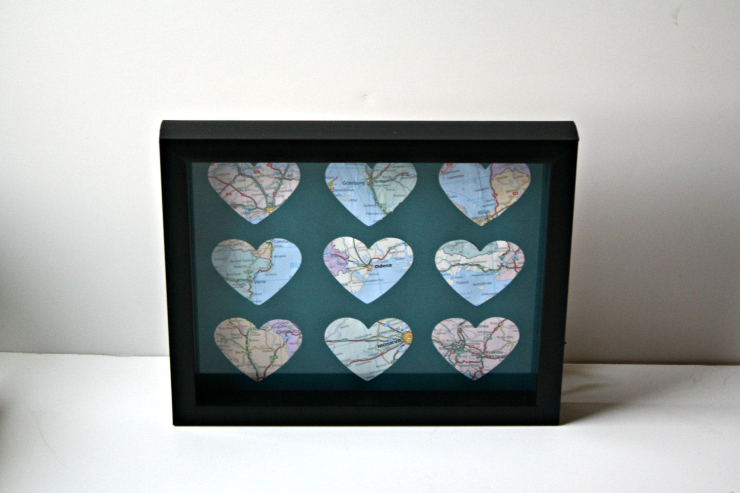 Framed map hearts vintage map art rustic and vintage maps map framed map hearts vintage map art rustic and vintage maps map home decor gumiabroncs Choice Image
