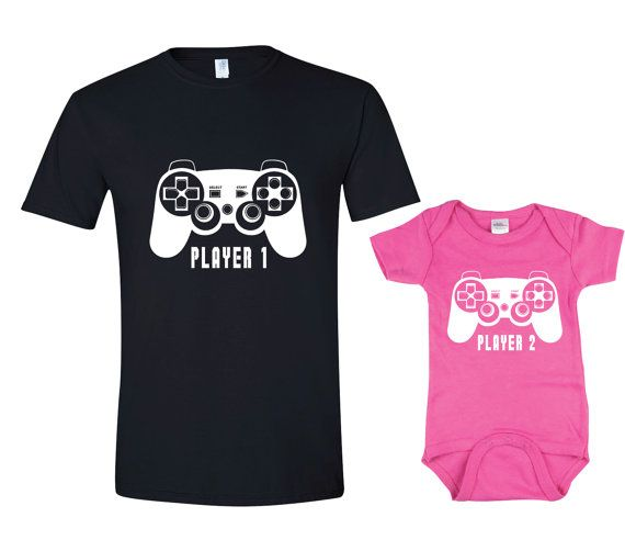 1aab79ada Father Daughter Matching Shirt Onesie Player 1 Player 2 Shirts Dad and Baby  Matching Shirts Matching Family Shirts Girl Clothes Father's Day