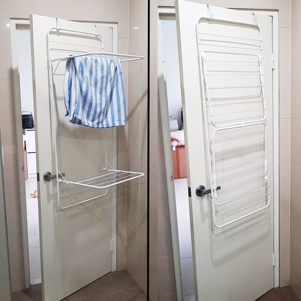 2 Layers Over Door Shower Dryer Clothes Drying Rack Foldable Home