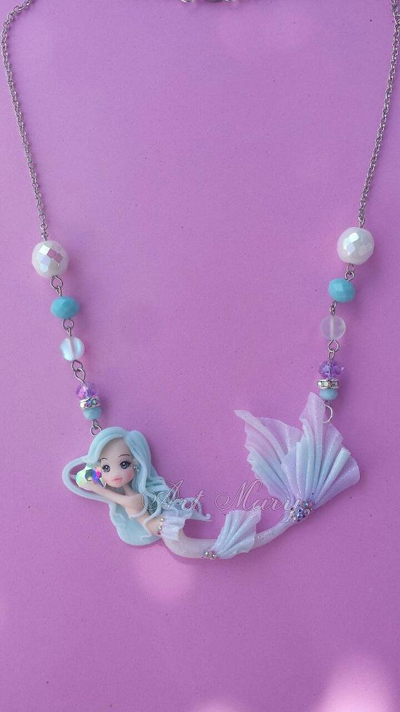 Necklace Mermaid candy in fimo polymer clay by Artmary2 on Etsy
