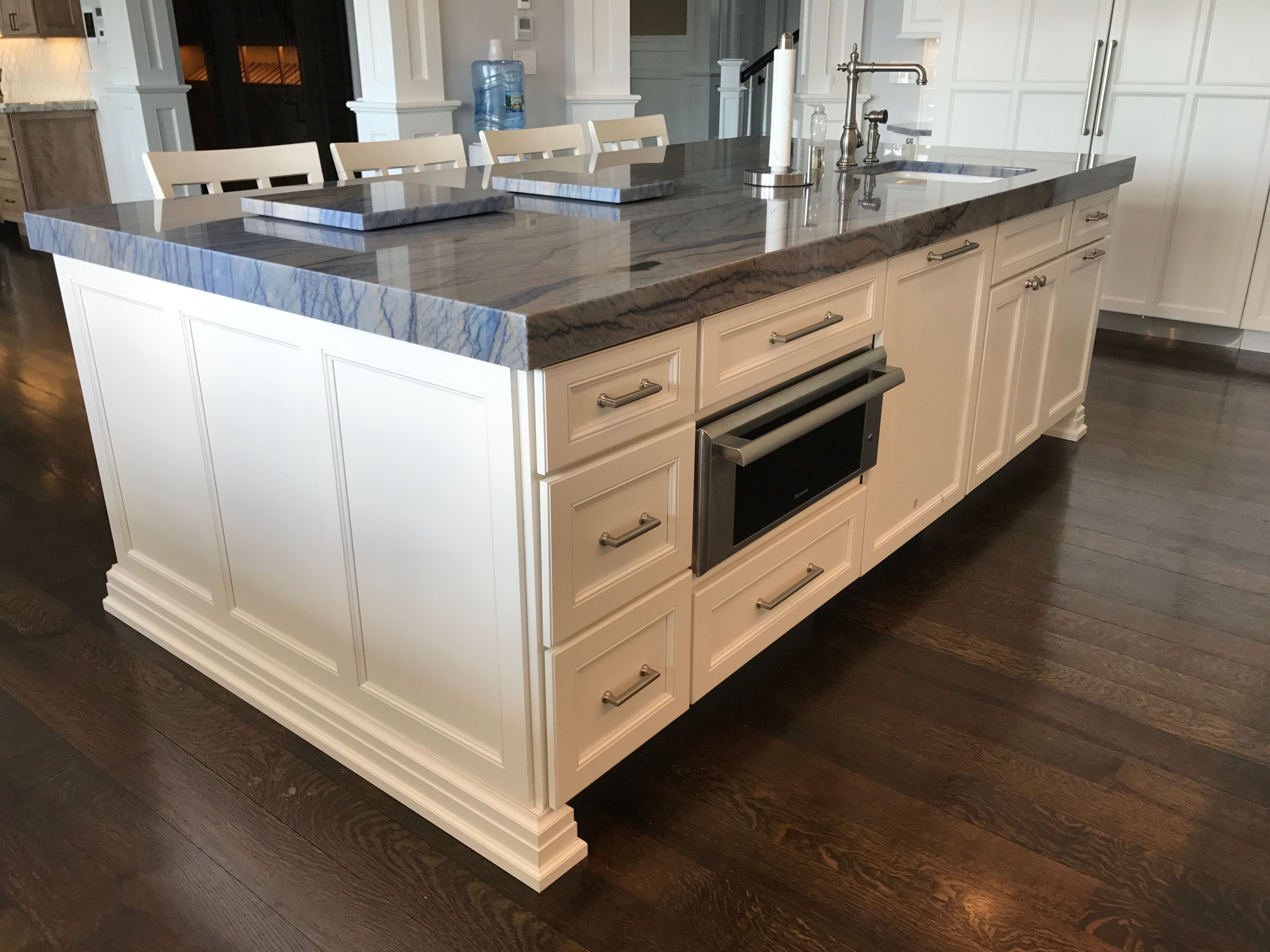 3 Mitered Counter Tops Warming Draw In Island End Panel Details Kitchens Pinterest
