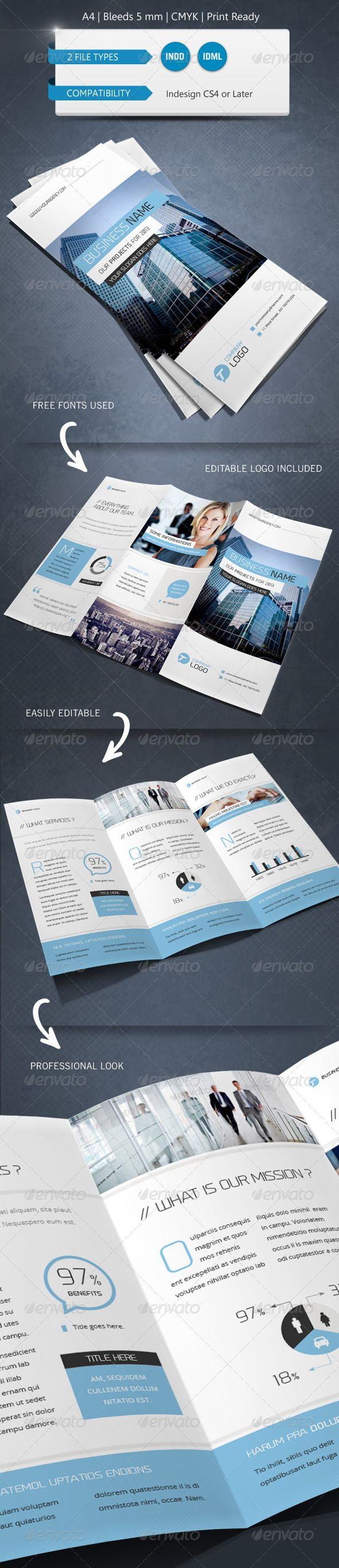 trifold brochure indesign template - corporate indesign trifold brochure template advertising