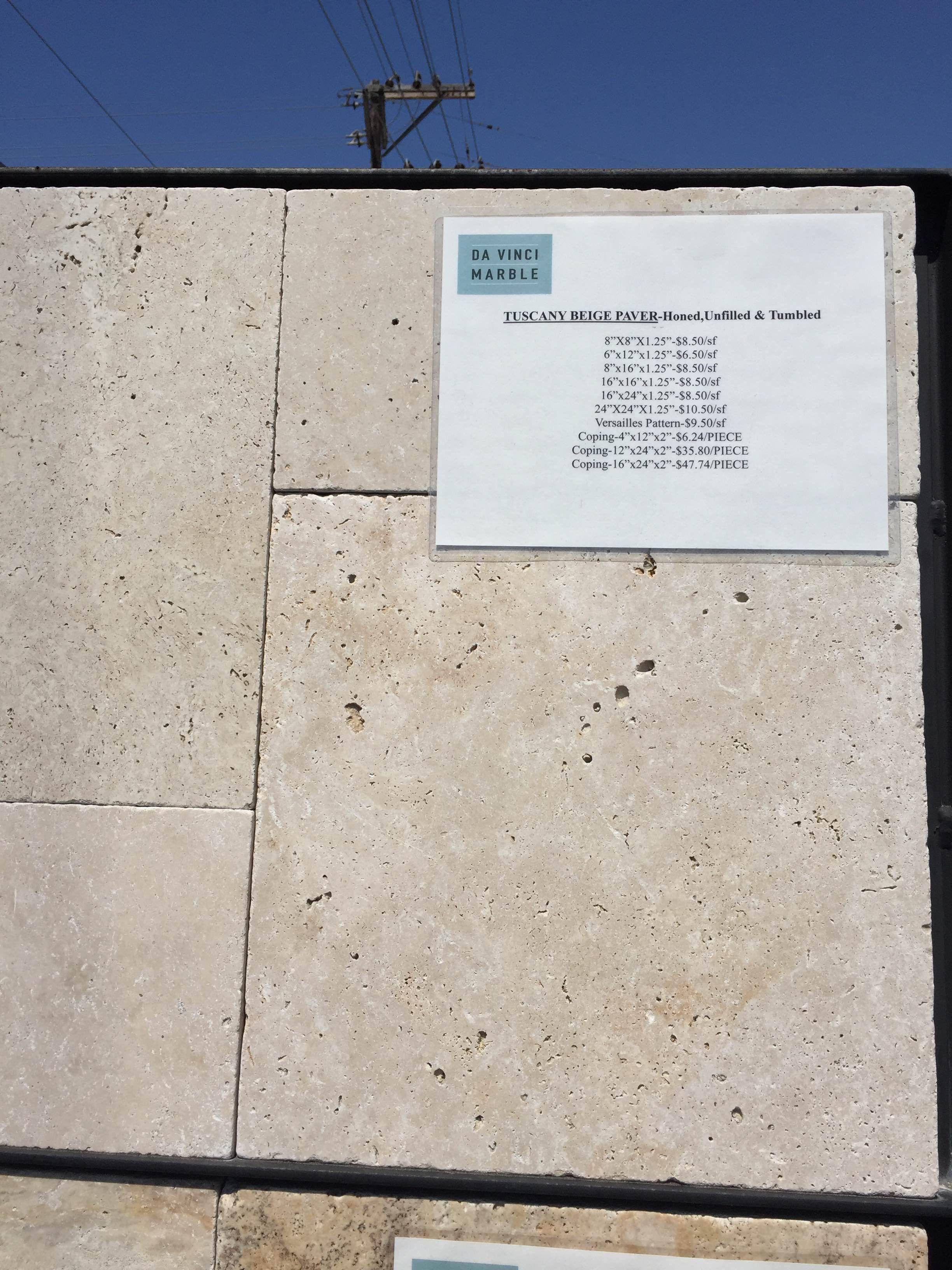 DaVinci Marble) Travertine paver 'Tuscany Beige' honed, unfilled
