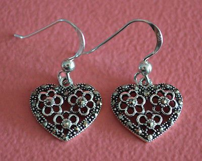 925 Sterling Silver Flower Marcasite Heart Dangle Earrings- Flower Heart Earring