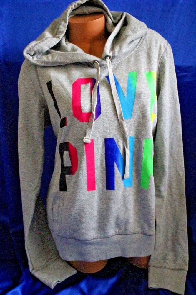 Vs Victorias Secret Pink Cozy Lace Up Pullover Hoodie Sweater Top Rainbow M