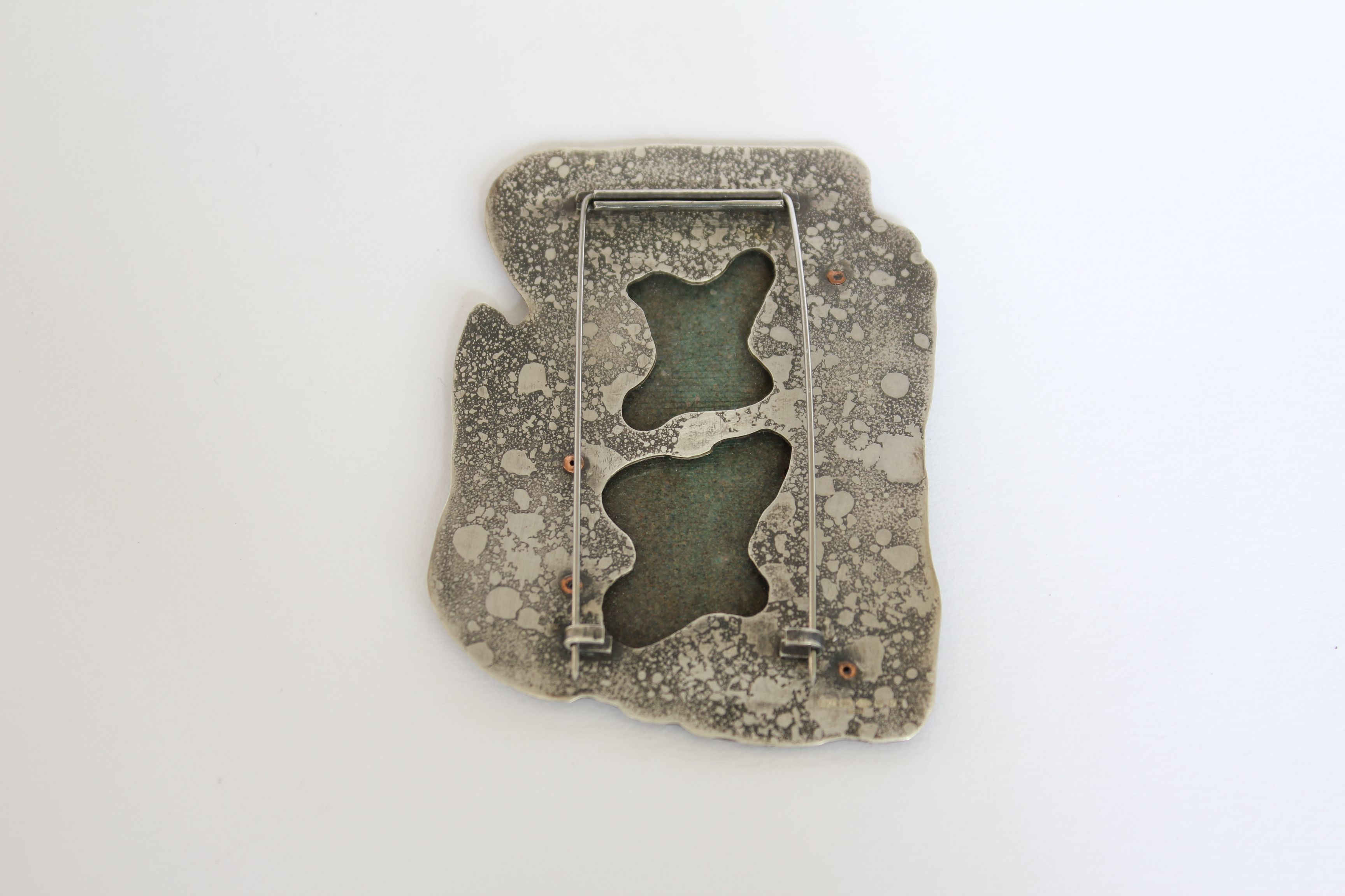 and brooch enamelled pin aquatint copper silver back amanda denison etched