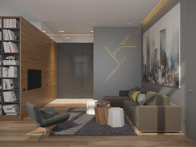 Couleur gris taupe, bois massif et déco géométrique ! | Salons and House