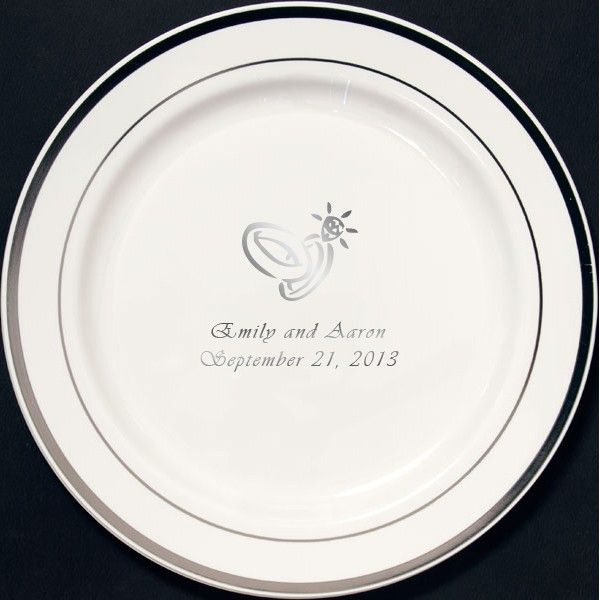 7 In Custom Printed Reusable Silver Trim Plastic Wedding Plates Set Of 25