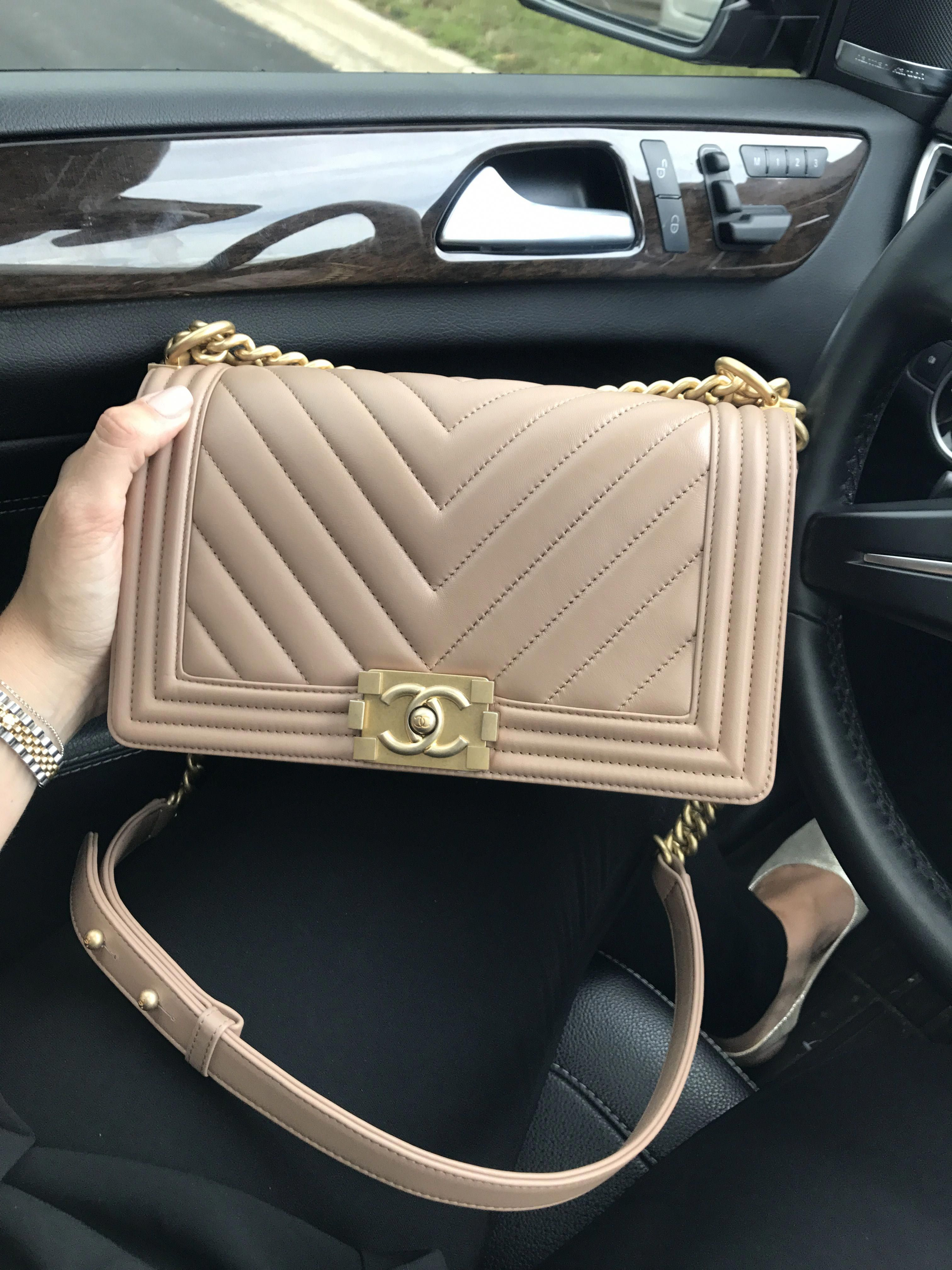 88a6b5e91cfa 2017 Chanel medium le boy bag chevron dark beige and gold hardware   Chanelhandbags