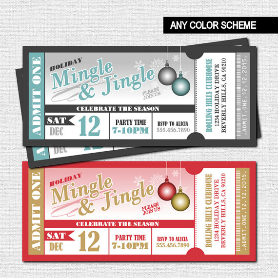 HOLIDAY PARTY Ticket Invitations Christmas Mingle and Jingle – Party Ticket Invitations