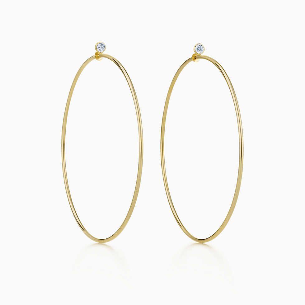 70a34b7ad Tiffany & Co. Elsa Peretti® Diamond Hoop earrings in 18k gold with diamonds,  medium.