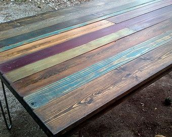 Multicolor Salvage Wooden Plank Table Custom Reclaimed Wood