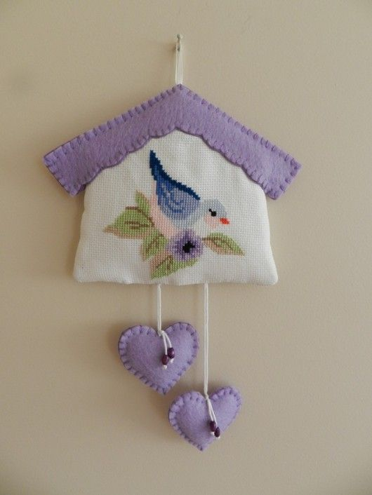 lovely cross stitch bird house