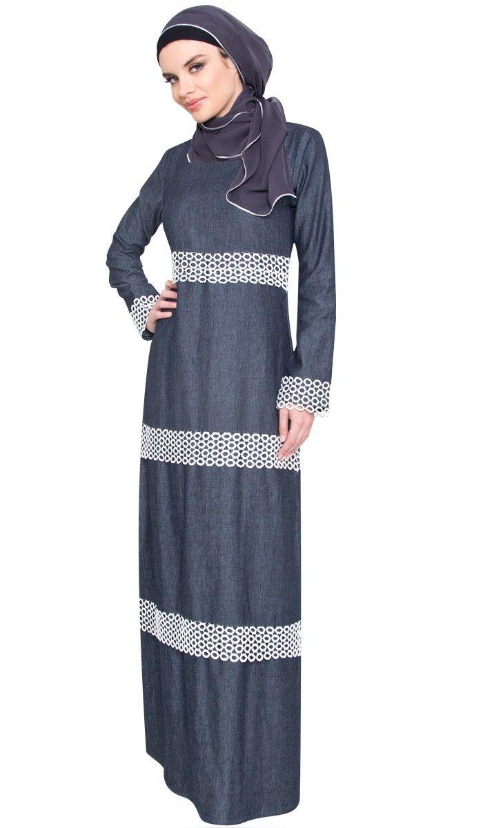 cbd14add0a Blue Denim and Lace Accent Modest Maxi Dress Abaya
