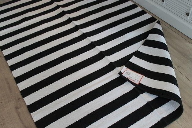 Teppich Schwarz Weiß Gestreift Streifen 140x200