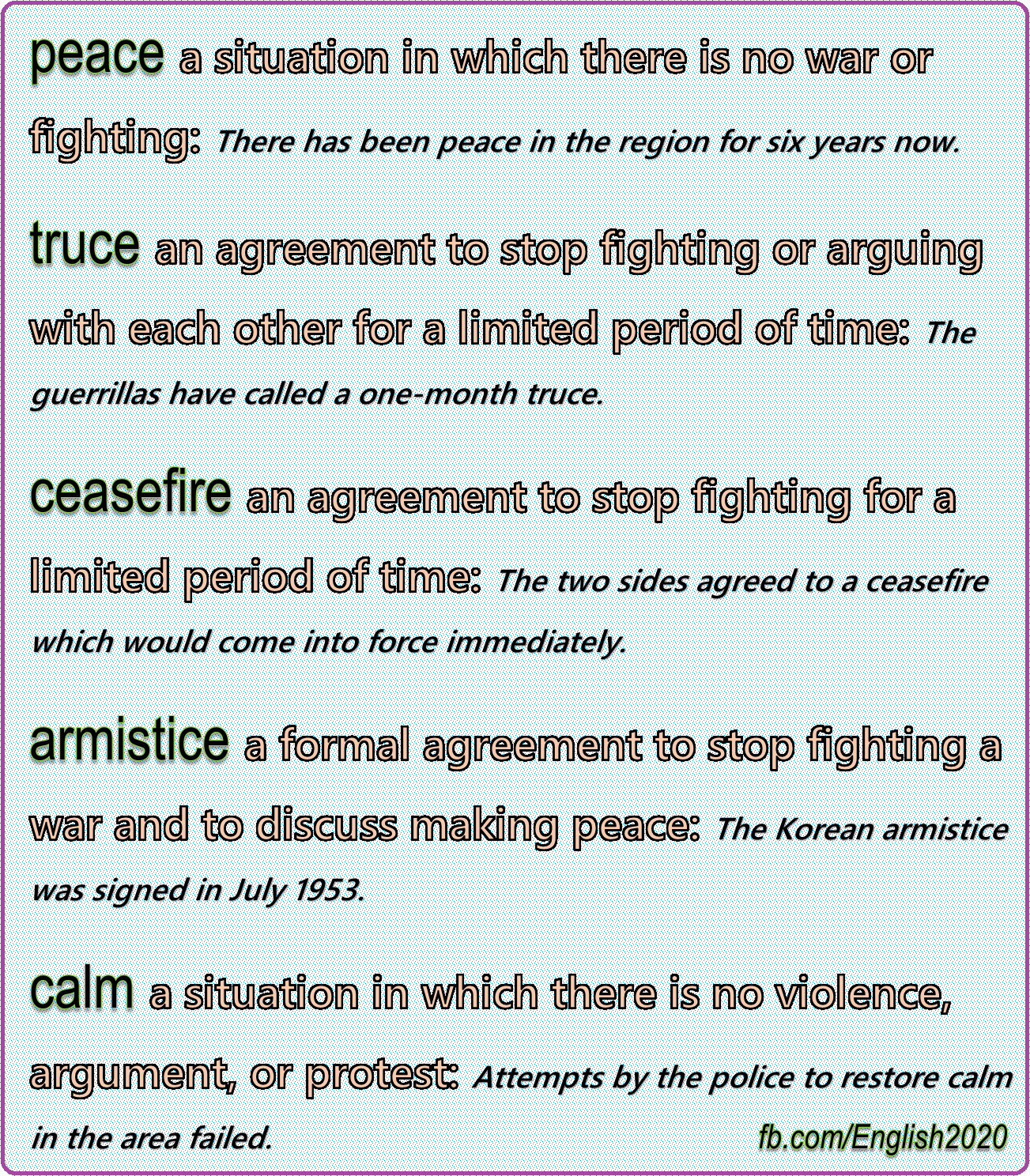 Synonyms Peace English Language Esl Efl Learn English