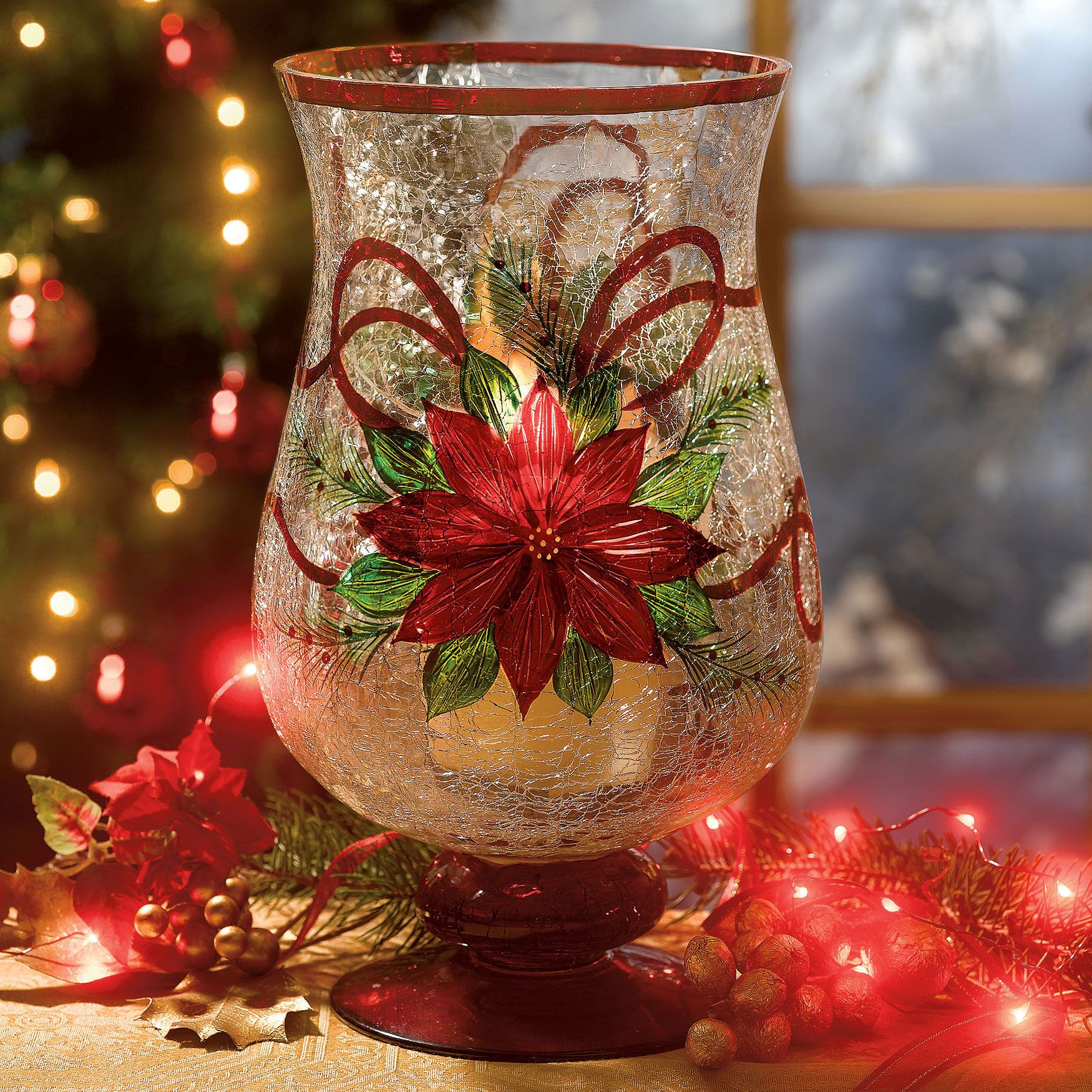 Hand painted crackle glass poinsettia candle holders for Christmas glass jars