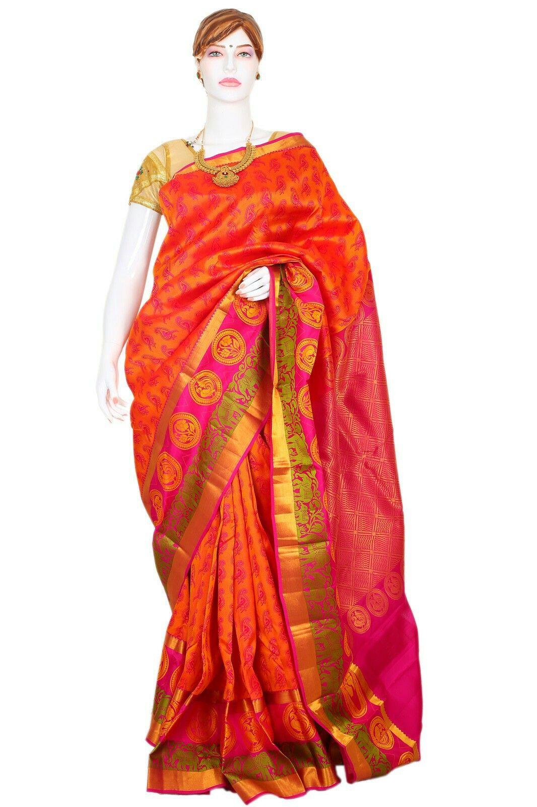 1d11d66612 Fanta orange and pink mixed Pattu saree with pink zari pallu from makers.  You can