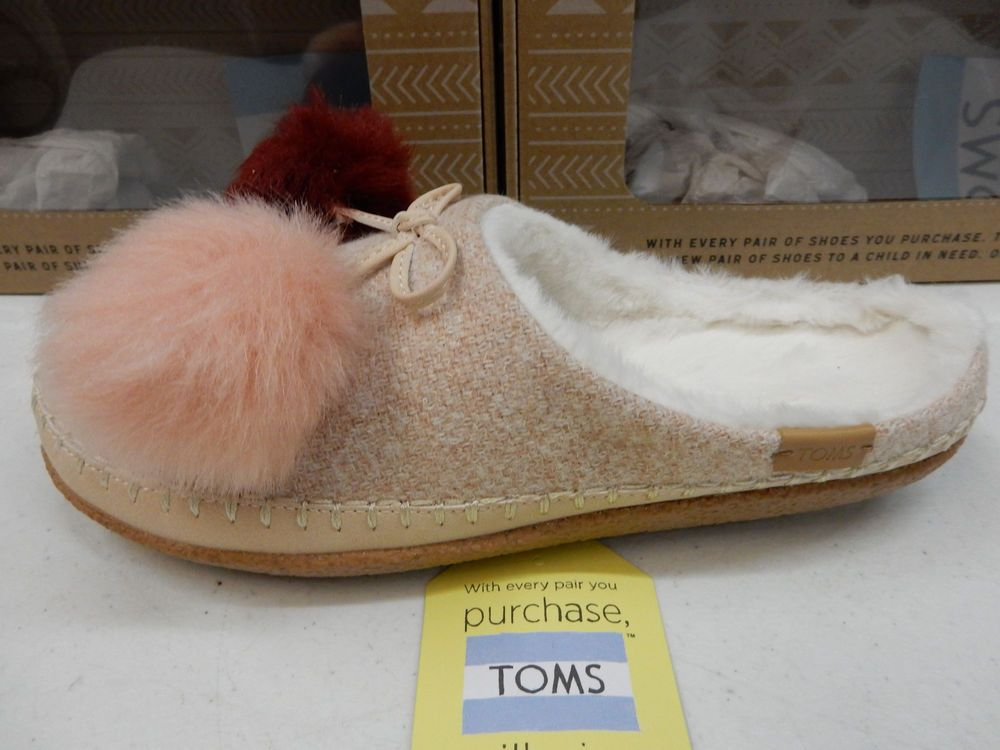 TOMS WOMENS SLIPPERS IVY ROSE CLOUD POM