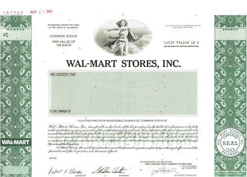 WalMart Stores Inc Specimen Stock Certificate  Certificate