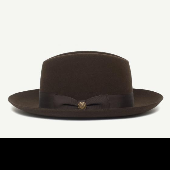 259cf80d7e5 Bob Benson Brown felt Wide Brim Fedora hat front view