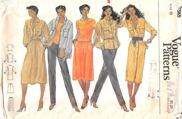 VOGUE 7565 - FROM 70S - UNCUT - MISSES DRESS, T-SHIRT & PANTS | Años ...