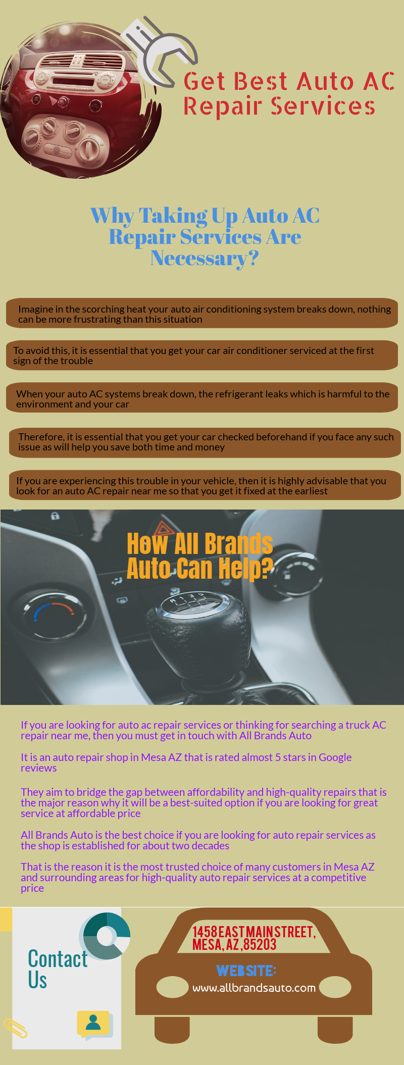 If you are looking for auto ac repair services or thinking