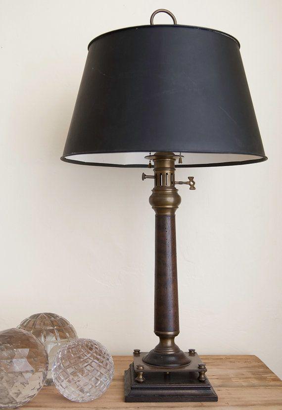 Vintage Brass Wood Nautical Lamp Etsy Nautical Lamps Lamp Brass Wood