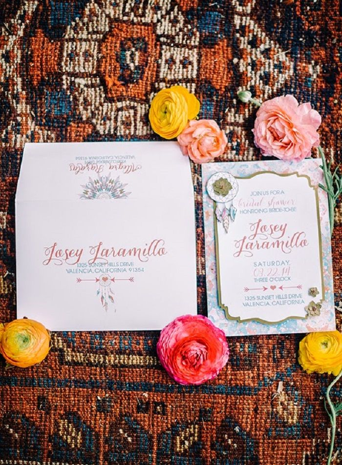 Bohemian bridal shower invitation | fabmood.com #bridalshower #wedding