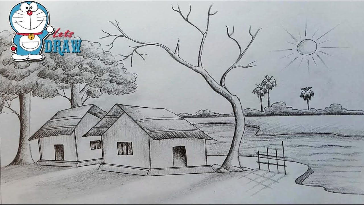 How to draw scenery shadow scene by pencil sketch