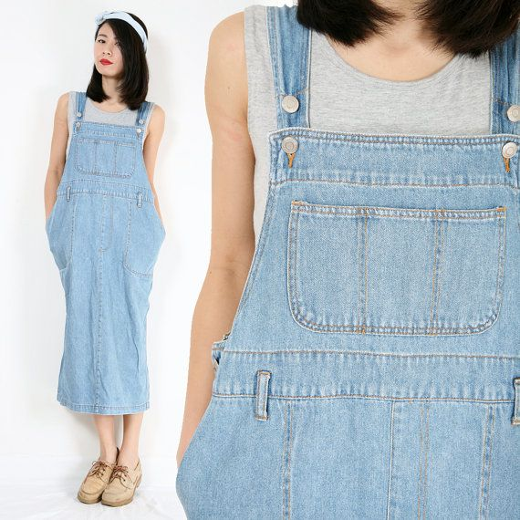 Vintage Blue Denim Dungaree Overall Oversized Grunge Maxi Jean ...