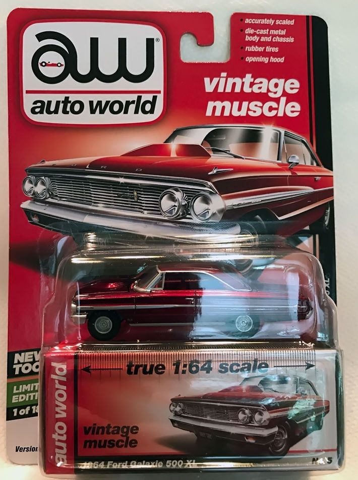 1:64 AUTO WORLD PREMIUM 1964 FORD GALAXIE 500 XL ULTRA RED CHASE ...