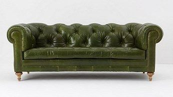 chesterfield olive green tufted leather sofa. | homestead ...